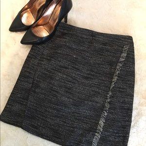 Loft Grey Ruffled Pencil Skirt